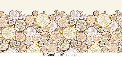 Wood log cuts horizontal seamless pattern background border