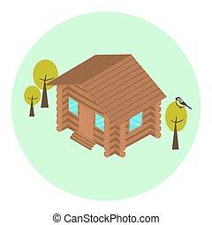 Wood log isometric house icon