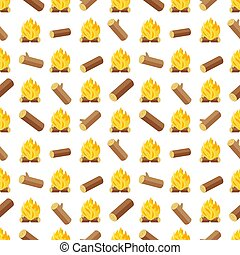 Wood logs and bonfires seamless pattern. Background with...