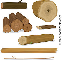 Illustration of a set of cartoon wood material logs, planks, shelves, twigs and trunks