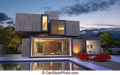 Wood luxury villa