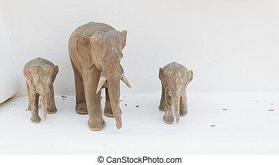 wood made elephant sculpture