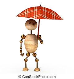 wood man under umbrella 3d rendered