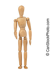 Wood mannequin holds out her hand on white background