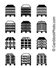 Wood materials in pallets - vector illustration