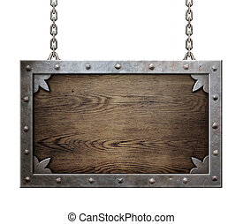 wood medieval sign with metal frame isolated - wood medieval...