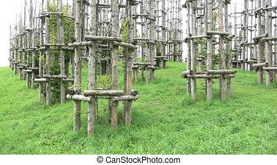 "Structure of ""Cattedrale Vegetale"", beautiful art project on Pizzo Arera, Bergamo, tilt shift"