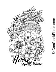 Wood nesting box. Pattern for coloring book, tattoo, poster.