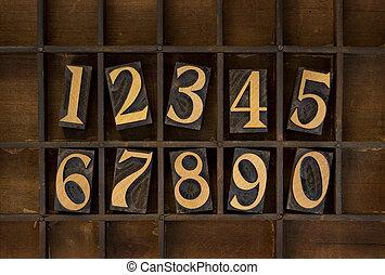 wood numbers - vintage letterpress type