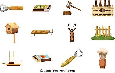 Wood object icon set, cartoon style
