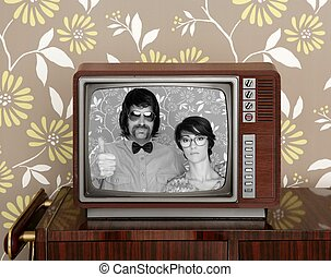 wood old tv nerd silly couple retro man woman