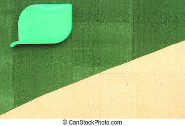 Wood on Artificial turf green background - Wood on...
