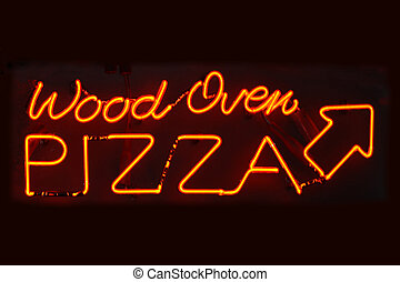 Wood Oven Pizza sign - An orange neon sign reading Wood Oven...