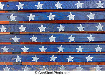 Wood painting of stars and stripes - Pretty background of...