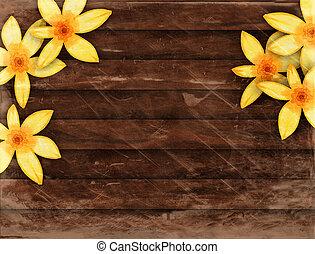 Wood Panel Floral Border