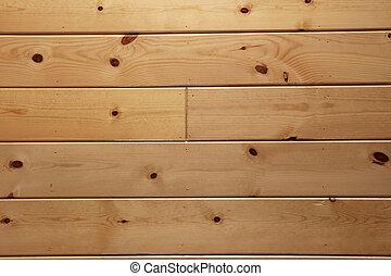 wood paneling - varnished knotty wood plank paneling...