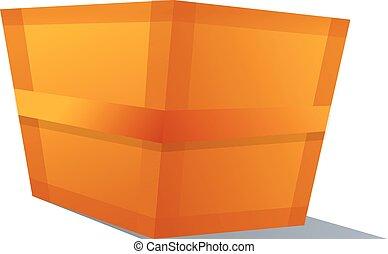Wood parcel box icon, cartoon style