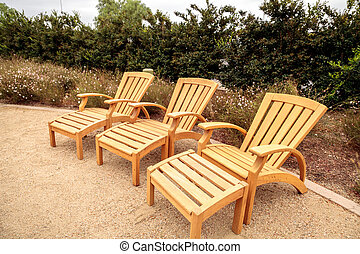 Magnificent Wood Patio Lounge Chairs With Green Cushions In The Backyard Beatyapartments Chair Design Images Beatyapartmentscom