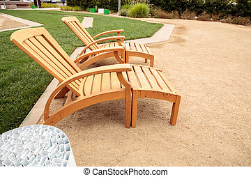 Groovy Wood Patio Lounge Chairs In The Backyard With Green Grass In Beatyapartments Chair Design Images Beatyapartmentscom