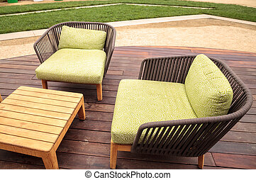 Surprising Wood Patio Lounge Chairs With Green Cushions In The Backyard Beatyapartments Chair Design Images Beatyapartmentscom