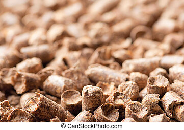 Wood pellet background pattern - wood pellets as ecological...