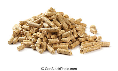 Wood pellets - Pile of wood pellets isolated on white