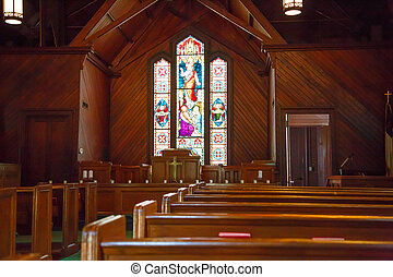Wood Pews and Stained Glass in Small Church - Beautiful...