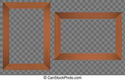 Wood Photo frame. Realistic wooden border.
