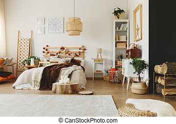 Wood pieces in bedroom