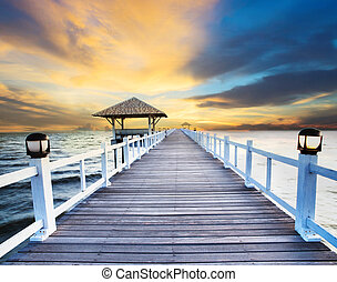 wood piers and sea scene with dusky sky use for natural ...