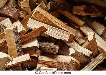 Wood Pile Closeup - Pile of logs cut for firewood