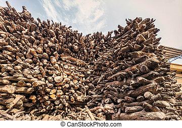Wood pile Varanasi
