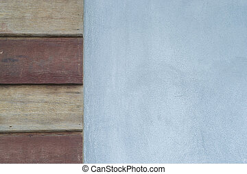 wood plank and white cement wall texture background