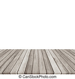 Wood plank brown - gray on white backgroun, Perspective floor.