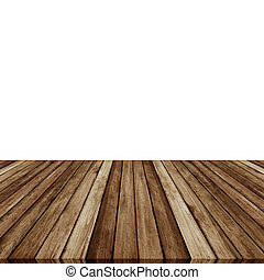 Wood plank brown on white backgroun, Perspective floor.