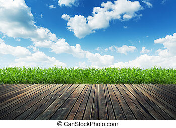 Wood plank on natural green grass