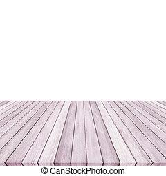 Wood plank purple on white backgroun, Perspective floor.