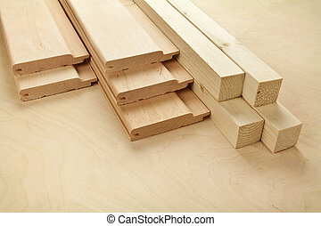 Wood planks on wooden board