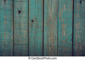 Wood planks with blue paint