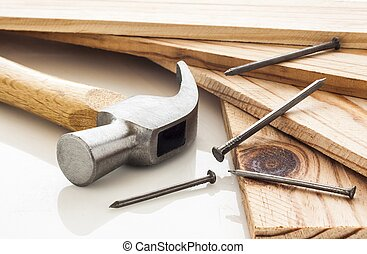 Wood planks with hammer