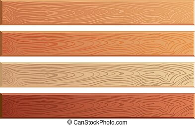Wood planks with wooden texture vector set