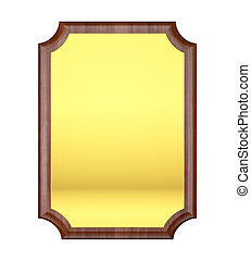 Wood plaque with Gold plate isolated on white background.