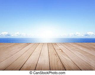 Wood platform and the sea.