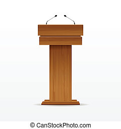 Wood Podium Tribune Rostrum Stand with Microphone - Vector...