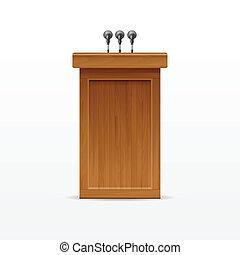 Wood Podium Tribune Rostrum Stand with Microphones - Vector...