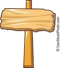 Wood post sign icon, cartoon style