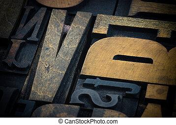 Background of vintage wooden print letter cases