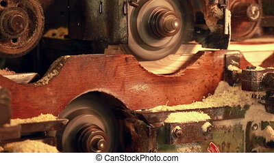 Wood processing. Close-up of automated machine