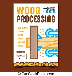 Wood Processing Creative Promotion Poster Vector. Bark Removal And Chipping, Sawing And Planing, Moulding And Milling Trunk Processing Advertising Banner. Concept Template Style Color Illustration