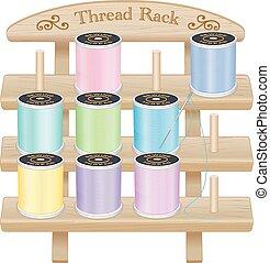 Wood Rack, Pastel Sewing Threads